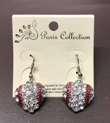 CRYSTAL HEART BASEBALL EARRINGS #FE-18961-3CL