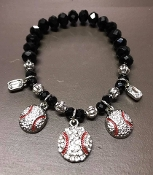 CRYSTAL BASEBALL CHARM STRETCH BRACELET #BT-0023-3R
