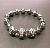 CRYSTAL BASEBALL STRETCH BRACELET #BC-0023-3R