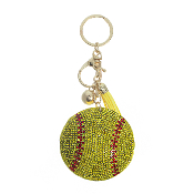 SOFTBALL PUFFY CRYSTAL KEYCHAIN #31250JO-G OUT OF STOCK