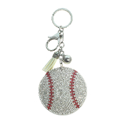 BASEBALL PUFFY CRYSTAL KEYCHAIN #31250WH-S