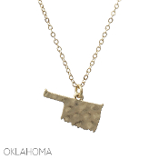 OKLAHOMA HAMMERED PENDANT NECKLACE #16331-G