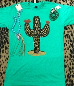 LEOPARD STAND TALL CACTUS H-KELLY CREW NECK TSHIRT 2XL