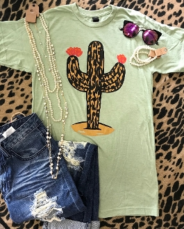 LEOPARD STAND TALL CACTUS H-LT GREEN CREW NECK TSHIRT 8PK $60.00