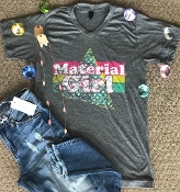 MATERIAL GIRL CHARCOAL HEATHER V-NECK TSHIRT SIZE SMALL