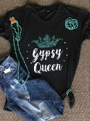 GYPSY QUEEN GRAPHITE HEATHER V-NECK TSHIRT SIZE SMALL $7.50