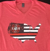 BACK THE RED V NECK HEATHER RED 2&3XL TSHIRT
