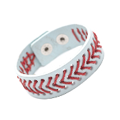 BASEBALL LEATHER SNAP BRACELET #83436WH-S $3.00