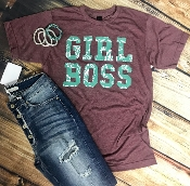 GIRL BOSS HEATHER WINE CREW NECK TSHIRTS 2X & 3X $9.50