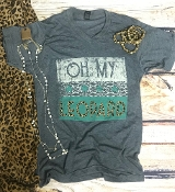 OH MY LEOPARD VNECK HEATHER CHARCOAL TSHIRT $60 8PK