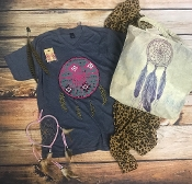 LEOPARD DREAMS HEATHER NAVY VNECK SHIRT 2X & 3X