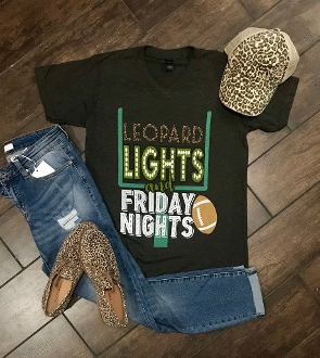 LEOPARD LIGHTS AND FRIDAY NIGHTS GRAPHITE VNECK TSHIRTS 8PK $60