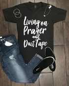 LIVING ON PRAYER AND DUCT TAPE GRAPHITE VNECK 2X & 3X