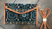 AZTEC BLANKET CROSS BODY HANDBAG #HD3221 TURQUOISE