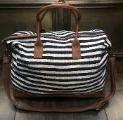 NAVY & CREAM STRIPE DUFFEL/OVERNIGHTER #HD2962NV *OUT OF STOCK*