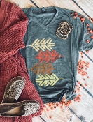 FALLING LEAVES VNECK TSHIRT 2X & 3X HEATHER CHARCOAL