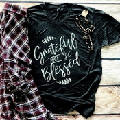 GRATEFUL AND BLESSED VNECK GRAPHITE SHIRTS 8PK $60