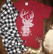 PLAID REINDEER CREW NECK TSHIRTS 8PK $48