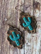 GENUINE LEATHER CACTUS EARRINGS #SE0356-BR $6.50
