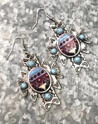 NAVAJO PRINT EARRINGS #SE0600-SBTQ $6.50