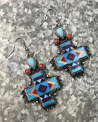 NAVAJO PRINT EARRINGS #SE0601-SBTQ $6.50