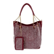 RHINESTONE HANDBAG WITH POUCH #HD2477WINE $24.50