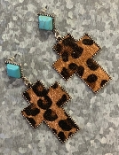 LEOPARD CROSS TQS POST EARRINGS #SE0480DKLEO $5.75
