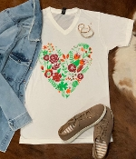 FLORAL HEART WHITE  VNECK TSHIRTS 8PK $60