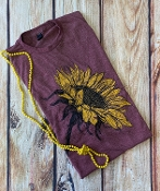 BE BEAUTIFUL SUNFLOWER WINE CREW NECK TSHIRT 8PK $60