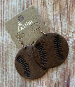 LEATHER BASEBALL EARRINGS #SE0521-BR