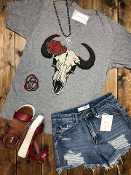 LEOPARD ROSE COWSKULL VNECK TSHIRT SIZE SMALL $7.50