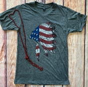 USA CHIEF VNECK TSHIRT CHARCOAL SIZE SMALL