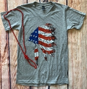 USA CHIEF VNECK TSHIRT LIGHT GREY SIZE SMALL