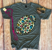 MULTI LEOPARD FOOTBALL SHIRT SIZE SMALL $7.50