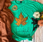 THANKFUL AUTUMN LEAF GREEN  TSHIRT 8PK $60