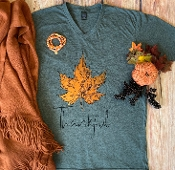 THANKFUL AUTUMN LEAF CHARCOAL  TSHIRT 8PK $60
