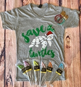 SAVE THE TURTLES GREY VNECK  TSHIRT SIZE 2XL $9.50