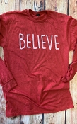 BELIEVE LONG SLEEVE RED TSHIRT SIZE 2XL $11.50