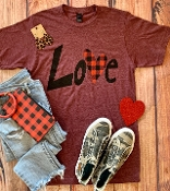 LOVE PLAID HEART WINE CREW NECK TSHIRTS SIZE SMALL