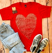 DISTRESSED HEART RED VNECK TSHIRTS SIZE SMALL $7.50
