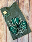 LUCK LOVE AND LAUGHTER CREW NECK OLIVE SIZE 2XL $9.50