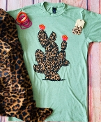 LEOPARD SUCCULENT HEATHER SAGE CREW NECK TSHIRT SIZE SMALL