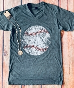 DISTRESSED BASEBALL VNECK TSHIRT SIZE SMALL