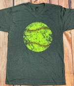 DISTRESSED SOFTBALL VNECK TSHIRT SIZE SMALL