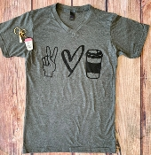 PEACE LOVE COFFEE TSHIRTS SIZE SMALL