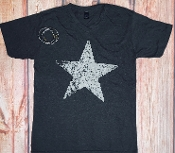 DISTRESSED STAR  VNECK GRAPHITE TSHIRT SIZE SMALL $7.50
