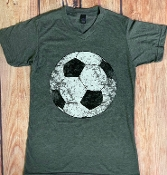 DISTRESSED SOCCER VNECK TSHIRT SIZE SMALL