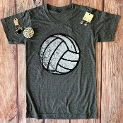 DISTRESSED VOLLEYBALL VNECK TSHIRT SIZE 2XL
