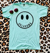 OKLAHOMA HAPPY FACE PURIST BLUE TSHIRT SIZE 2XL $9.50