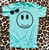 TEXAS HAPPY FACE PURIST BLUE TSHIRT SIZE SMALL $7.50